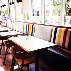 Spotted! Smith Restaurant in Winnipeg #multistripe #hbccollections #pointblanket #regram #stylishinteriors