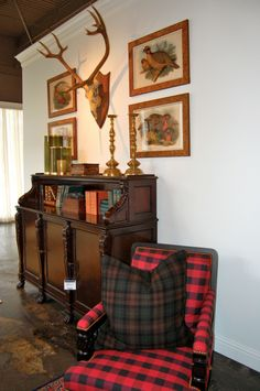 english country, english cottage, updated english country, buffalo check, plaid, tartan, antlers, antique desk, antique brass candlesticks, ralph lauren