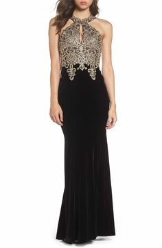 Main Image - Xscape Crystal Embroidered Velvet Gown (Regular   Petite)  Velvet Gown bf3faadc7e53