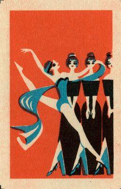 Art Deco Dancers ~ Vintage Matchbook