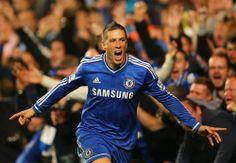Fernando Torres, celebrando en favor del Chelsea FC.