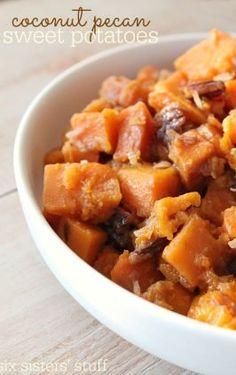 Try this Slow Cooker Coconut Pecan Sweet Potatoes recipe for a twist on classic sweet potatoes. These coconut pecan sweet potatoes make for a unique and creative way to prepare an unexpected side dish your family will love. Sweet Potato Pecan, Sweet Potato Recipes, Slow Cooker Recipes, Cooking Recipes, Healthy Recipes, Crockpot Recipes, Veggie Recipes, Yummy Recipes, Chicken Recipes