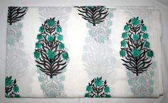 INDIAN BLOCK PRINT FABRIC NEW FLORAL JAIPURI RUNNING DRESS MATERIAL FABRIC @-@ #Handmade