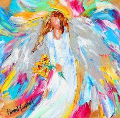 Angel with Sunflowers by Karen Tarlton