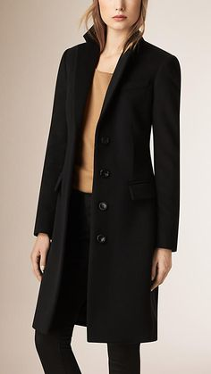Black Tailored Wool Cashmere Coat - Burberry