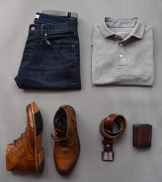 outfit grid Collection of Outfit Grids/Flatlays [OC - Menswear, Americana, misc. Mens Casual Dress Outfits, Men Dress, Fashion Mode, Mens Fashion, Stylish Men, Men Casual, Style Masculin, Mein Style, Outfit Grid