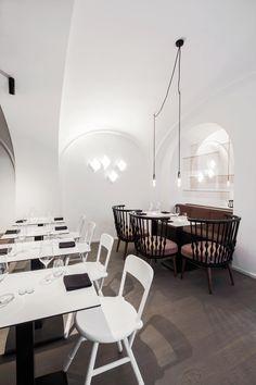 Restaurant Visit: An Elegant Käserei, Built to Last, at Lingenhel in Vienna - Remodelista Bar Interior Design, Restaurant Interior Design, Commercial Interior Design, Commercial Interiors, Bistro Restaurant, Glass Facades, Dining Table, Dining Room, Furniture
