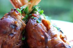Lamb Shanks With Thyme And Rosemary - Weber (I made this with cream of tomato soup - as this was all I had on hand. Lamb Recipes, Meat Recipes, Cooking Recipes, Lamb Shank Recipe, Cream Of Tomato Soup, Rosemary Recipes, Weber Bbq, Lamb Dishes, Lamb Shanks