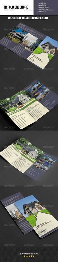 Trifold Brochure Real Estate — Photoshop PSD #building #brochure • Available here → https://graphicriver.net/item/trifold-brochure-real-estate/7018822?ref=pxcr
