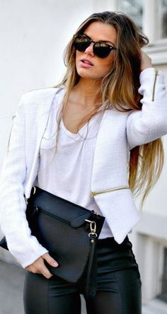 street style / blazer + leather @wachabuy