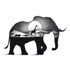 эскиз, тату, слон, африка, силуэт