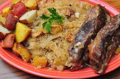 Sauerkraut and pork.  Traditional New Years Day Pennsylvania Dinner.  For good luck!