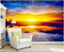 Custom paper DE parede 3 d, large murals sunset scenery for the bedroom living room TV wall vinyl which wallpaper for the wall(China (Mainland))