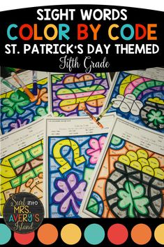 "St. Patrick's Day is such a FUN day, and these no prep color by sight word worksheets are perfect for morning work, literacy centers, fast finishers, inside recess, etc.  If your fifth grade students need extra practice mastering their sight words to increase their reading fluency, these differentiated printables are guaranteed NOT to disappoint!  Beware... your students will be BEGGING you for more ""fun sheets""! #fifthgradeactivities #frywords #sightwords #colorbycode #stpatricksdayactivities"