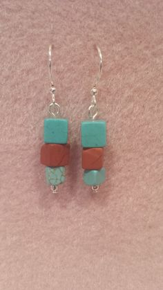 Jasper and turquoise cubed earrings