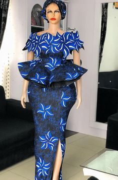 ankara peplum blouse and skirt styles Long African Dresses, African Lace Styles, Latest African Fashion Dresses, African Print Dresses, African Print Fashion, Beautiful Ankara Styles, Lace Gown Styles, Blouse Styles, African Traditional Dresses