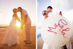 we used this parasol for our thank you cards.  Picture courtesy of Chrissy Lambert Photography #hawaii #wedding leahmcfarland