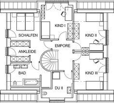 Landhaus Grundriss Dachgeschoss mit 85,63 m² Wohnfläche