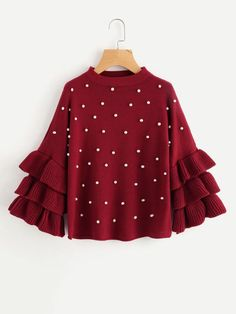 SHEIN Pearl Beading Tiered Ruffle Sleeve Jumper Burgundy Women Sweaters and Pull. - SHEIN Pearl Beading Tiered Ruffle Sleeve Jumper Burgundy Women Sweaters and Pullovers Crew Neck Long Sleeve Sweater – On Trends Avenue Source by ontrendsavenue - Girls Fashion Clothes, Girl Fashion, Fashion Outfits, Stylish Dress Designs, Stylish Dresses, Mode Grunge, Vetement Fashion, Ruffle Sleeve, Flutter Sleeve