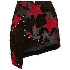 Anthony Vaccarello Red Patchwork Stars Asymmetric Mini Skirt (15.370 HRK) ❤ liked on Polyvore featuring skirts, mini skirts, red leather skirt, wrap mini skirt, high waisted leather skirt, short mini skirts and red skirt