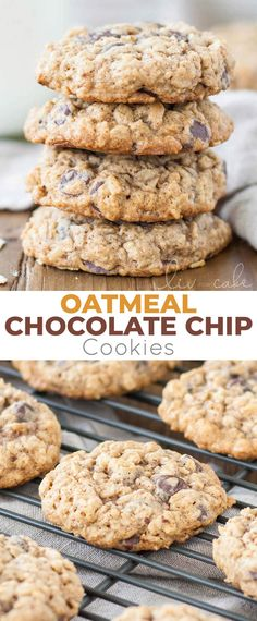 The only oatmeal cookie recipe you will ever need! Soft and chewy oatmeal chocolate chip cookies loaded with oats and chocolate chips! Made these April 2017 for Thu's going away party & got lots of compliments. Oatmeal Chocolate Chip Cookie Recipe, Oatmeal Cookie Recipes, Chocolate Chip Recipes, Easy Cookie Recipes, Baking Recipes, Healthy Chocolate Chip Cookies, Desserts With Oatmeal, Oat Cookie Recipe, Crack Crackers