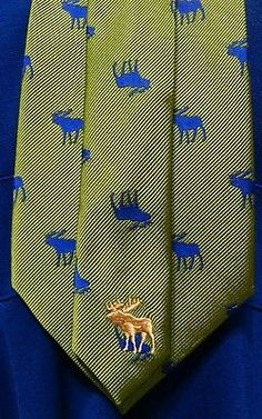 Abercrombie-amp-Fitch-Silk-Neck-Tie-Green-Blue-Moose-Pattern-Hard-to-find-60x3-75-034