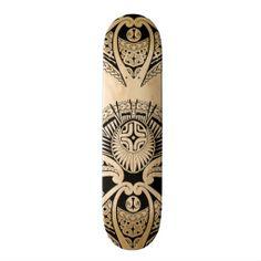 Polynesian Tattoo Art | Mixed Polynesian and Maori tattoo art Custom Skateboard