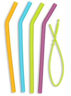 Amazon.com: Reusable Food Grade Silicone Drinking Straws (4 Pack) + Straw Squeegee Cleaning Tool - BPS & BPA Free, Dishwasher Clean, Safe for Kids: Kitchen & Dining