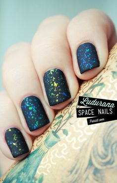 "They are calling this ""neon space nails"". to me it looks like a navy blue + a coat of Shine of the Times + Matte top coat. Whatever, it looks cool! (Maybe with a darkish purple background?)"