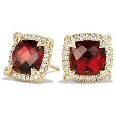 David Yurman Chatelaine Pave Bezel Stud Earring with Garnet and... ($2,515) ❤ liked on Polyvore featuring jewelry, earrings, apparel & accessories, garnet, pave jewelry, garnet earrings, post back earrings, bezel diamond earrings and garnet stud earrings