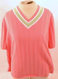 Beautiful Sag Harbor Plus Size 1X Short Sleeve 100% Cotton Knit Top Style Blouse #SagHarbor #KnitTop