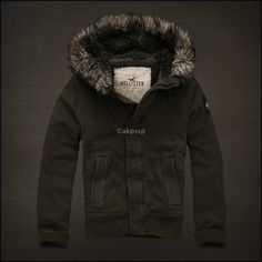 (RARE Olive) Hollister by Abercrombie Mens Jacket Fur Faux Sherpa Lined Hoodies   eBay