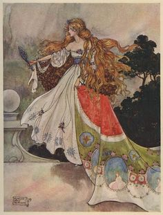 An poster sized print, approx (other products available) - A princess looking in a mirror, from & Black Princess& <br> <br> century - Image supplied by Mary Evans Prints Online - Poster printed in the USA Art And Illustration, Book Illustrations, Fantasy Kunst, Fantasy Art, Fine Art Prints, Framed Prints, Canvas Prints, English Artists, Fairytale Art