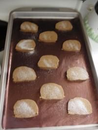 Slice and Bake Ginger Snaps 1 1/2 c shortening ( I use Crisco ) 1 1/2 c sugar 3/4 c molasses 4 c flour 1 1/2 tsp baking soda 1 1/2 tsp salt 1 Tbsp ground ginger 1 Tbsp ground cinnamon 1 Tbsp ground cloves Directions Cream Add dry ingredients Mix well. Shape into 2 thick rolls, wrap in waxed paper. Refrigerate several hours Heat oven to 350 degrees. Slice in 1/4 inch slices. Bake r 12-15 minutes.