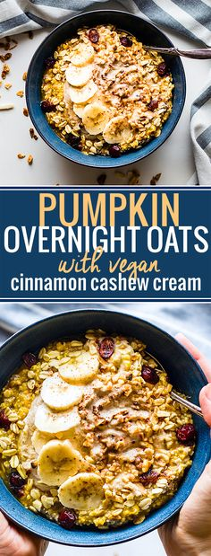 Pumpkin Overnight Oats with Cinnamon Cashew Cream and cranberry nut topping! A vegan pumpkin overnight oats recipe for Fall breakfasts. Healthy Oatmeal Recipes, Gluten Free Recipes For Breakfast, Delicious Breakfast Recipes, Oats Recipes, Free Breakfast, Pumpkin Recipes, Healthy Breakfasts, Vegan Recipes, Vegan Breakfast