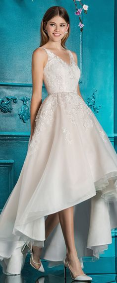 Wonderful Tulle V-neck Neckline Hi-lo A-line Wedding Dress With Lace Appliques