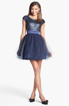 Trixxi Sequin & Tulle Party Dress (Juniors) (Online Only) | Nordstrom