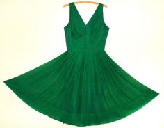 Vintage 1950s Emerald Green SILK Chiffon Cocktail Party Evening DRESS Full Skirt