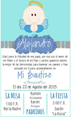 Invitacion Bautizo Angel niño