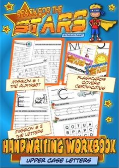 Handwriting Workbook (upper case letters) - CC L.K.1You will find: Teaching tips on how to structure the lessons 5 different cover pages (black & white easier to copy) 4 worksheets for each letter 6 worksheets for the entire alphabet 1 set of A4 flashcards 6 Reach-For-The-Stars certificatesDownload the preview to see more about this product.This workbook is a set of worksheets to learn and consolidate handwriting fine motor skills and visual perceptual skills. It is perfect for Kinders an...