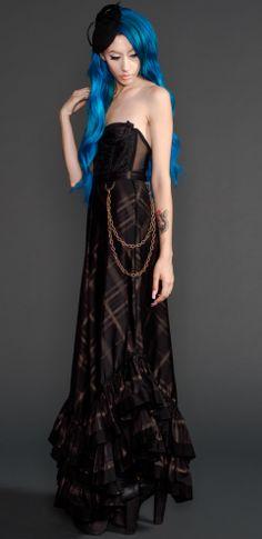 Womens - Skirts - Plaid Printed Sateen Long Skirt $111.00  #steampunk #ringmaster #circus #sideshow #victorian #neovictorian #lace #plaid #chain #lillipore