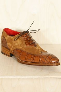 Miller Tan Croc Suede Mix Shoes