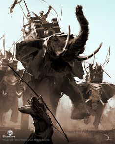 View an image titled 'War Elephant Concept Art' in our Assassin's Creed Origins art gallery featuring official character designs, concept art, and promo pictures. Assassins Creed Origins, Assassins Creed Odyssey, The Elder Scrolls, Fantasy Battle, Fantasy Warrior, War Elephant, All Assassin's Creed, Fantasy Creatures, Fantasy Characters