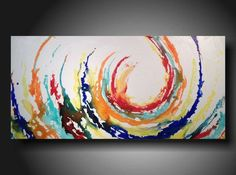 Buy Abstract art Abstract painting Pallet Knife painting Landscape on canvas 24 x 48 Streamline by jmjartstudio. Explore more products on http://jmjartstudio.etsy.com
