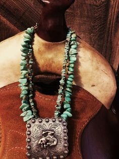 Turquoise Cowgirl Bucking Horse Concho Necklace by missilsemaria, $50.00