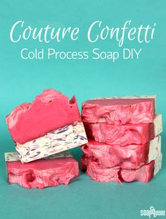 This cold process soap features a hot pink color palette, lots of glitter and a confetti layer to create an eye catching bar.