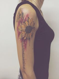 Girassol - tatuagem aquarela - watercolourtattoo - cassio magne