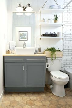41 Cool Small Studio Apartment Bathroom Remodel Ideas - Page 27 of 43 Shelves Above Toilet, Bathroom Storage Shelves, Cabinet Above Toilet, Bathroom Organization, Towel Storage, Bathroom Storage Over Toilet, Hanging Shelves, Simple Bathroom, Budget Bathroom