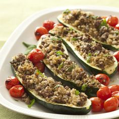 This easy and healthy dinner for two is ready fast, in just over 30 minutes.  Season lean ground beef with Greek spices, and use it to stuff zucchini halves.
