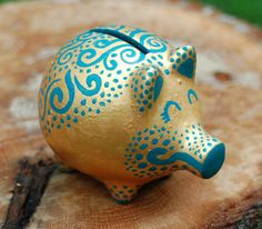 Decorative Hand-painted Gold and Teal Ceramic Piggy Bank Figurine